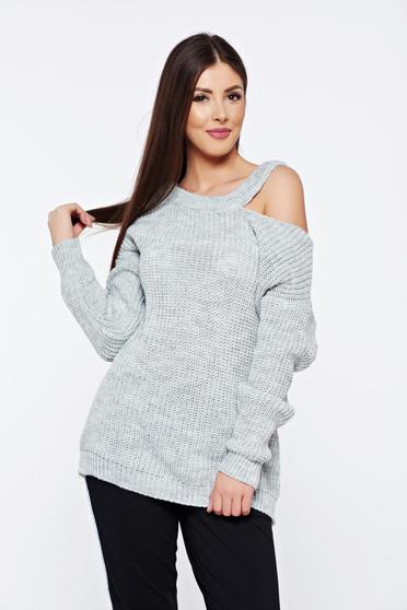 Grey casual knitted flared sweater both shoulders cut out