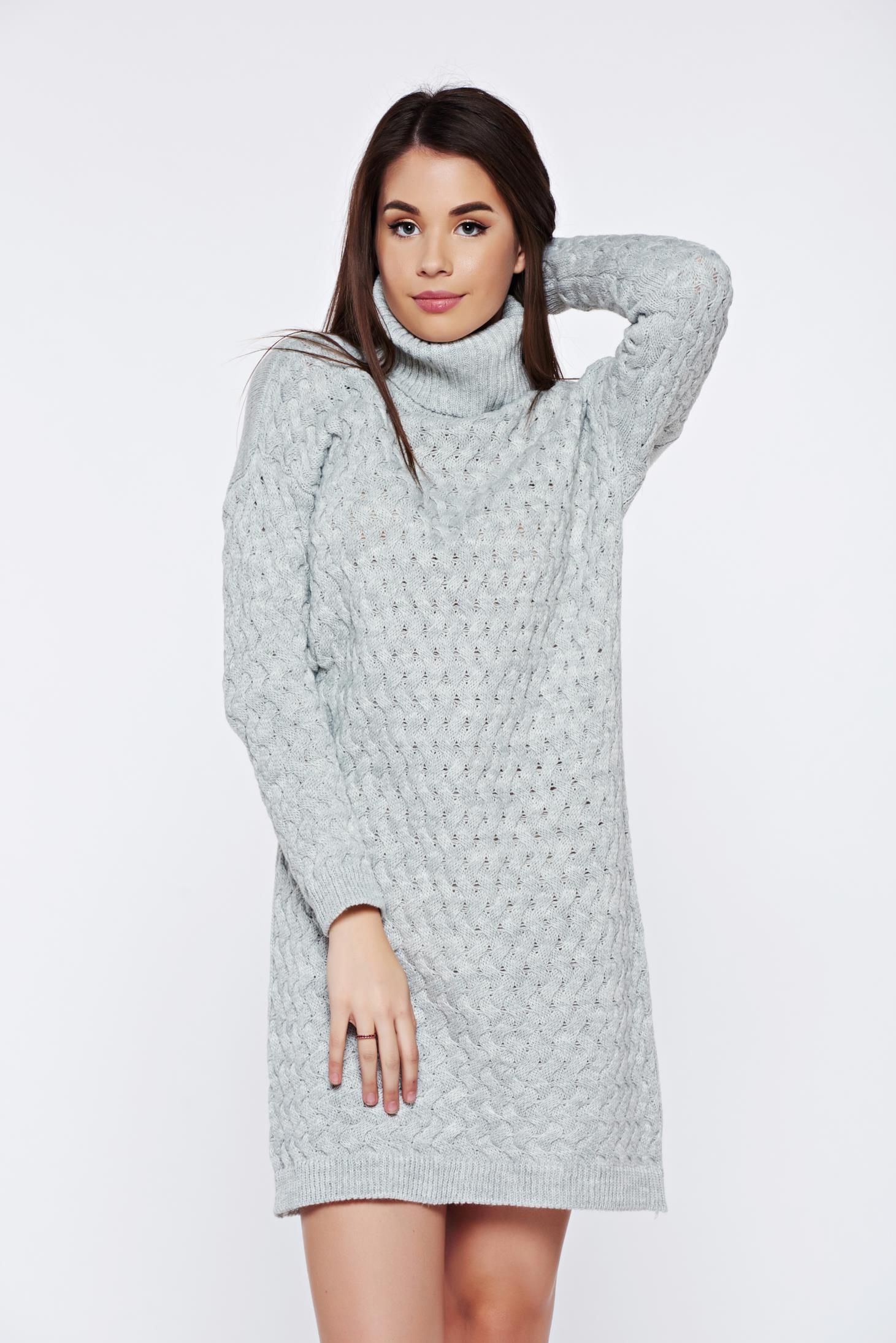 Statele Unite cumpara cel mai bine coduri promoționale Rochie gri casual tricotata cu croi larg pe gat