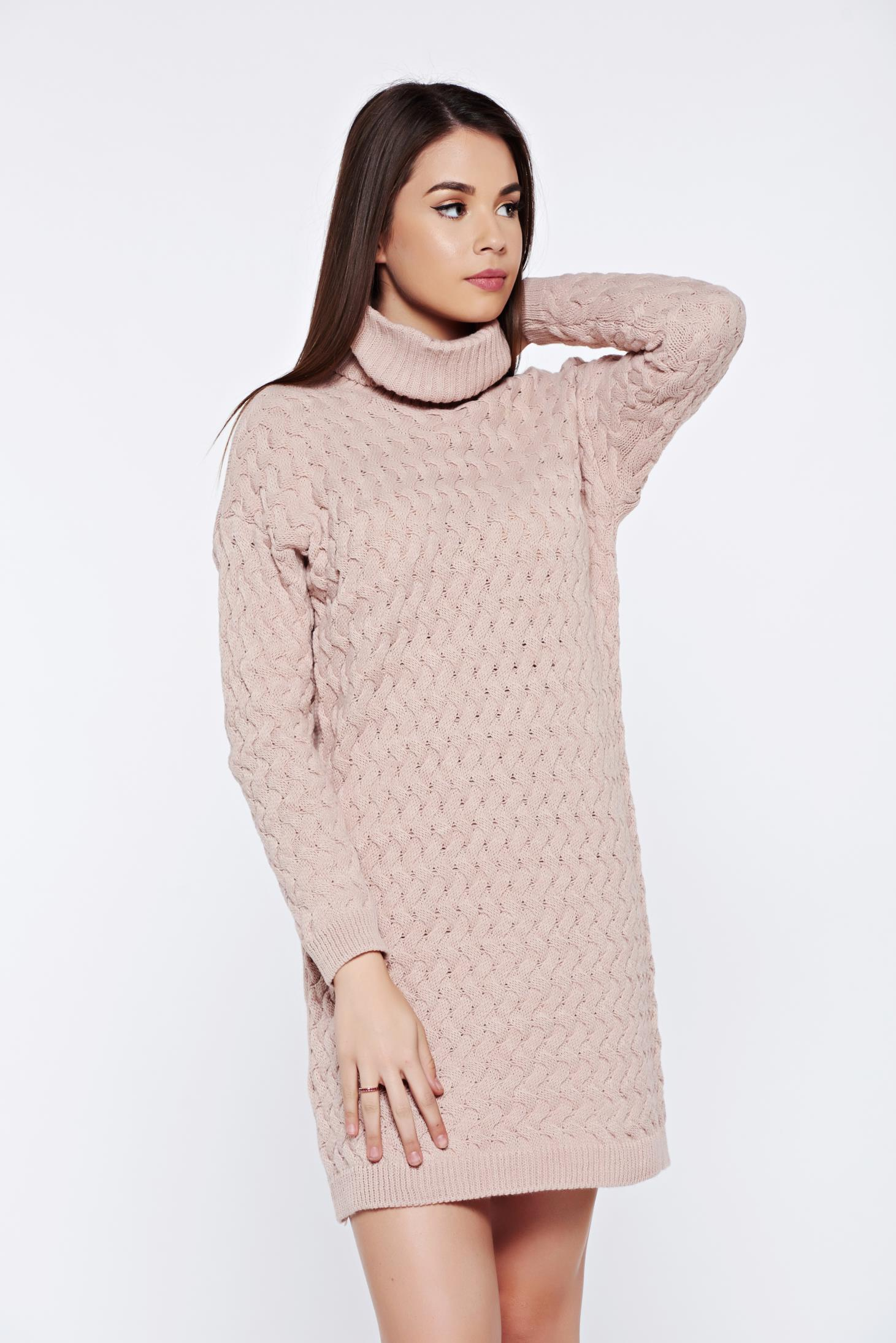 dd231540b88 Rosa casual knitted dress with easy cut with turtle neck