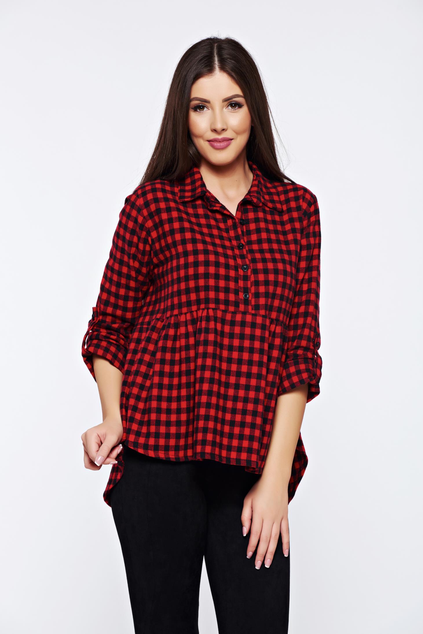 f5c039eefc Piros hétköznapi bő szabású kockás női ing