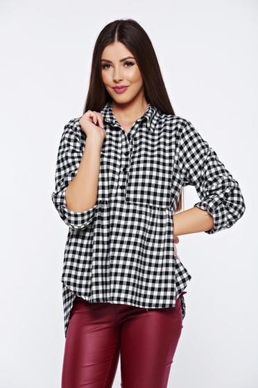 Black casual flared women`s shirt with chequers
