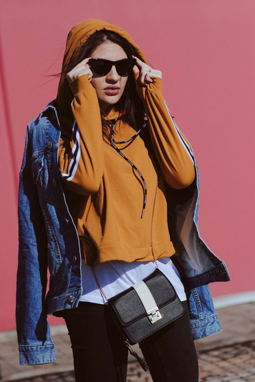 Mustard casual coat with undetachable hood