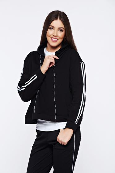 Black casual coat with undetachable hood