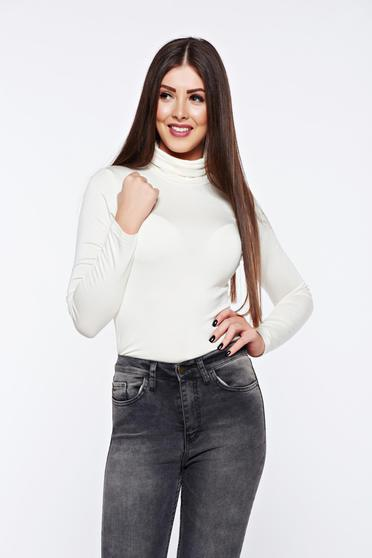 Casual white tented long sleeve turtleneck women`s blouse