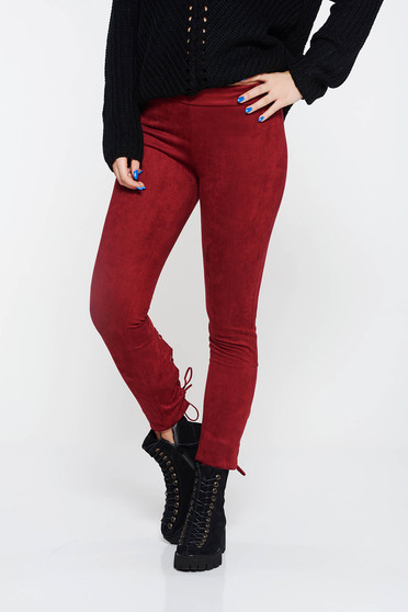 Casual burgundy conical from velour low waisted trousers with laced details