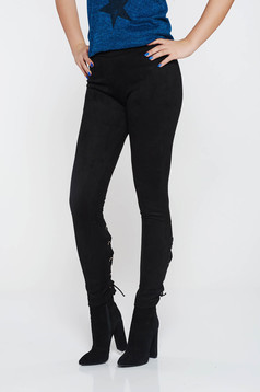 Casual black conical from velour low waisted trousers with laced details