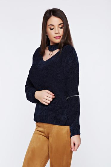 Blue casual knitted velvet flared sweater