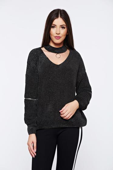 Darkgreen casual knitted velvet flared sweater