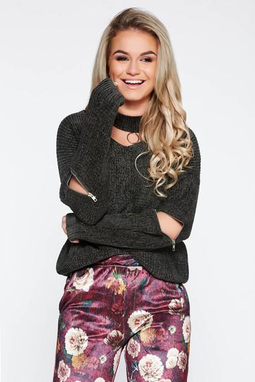 Darkgreen casual knitted velvet flared sweater