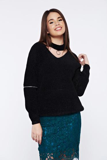 Black casual knitted velvet flared sweater