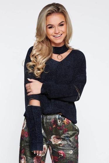 Black casual knitted velvet flared sweater