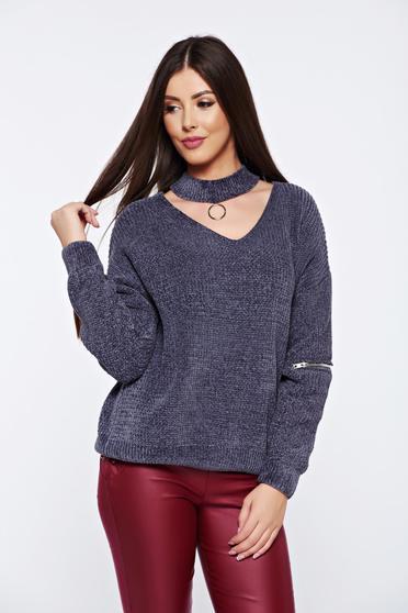 Grey casual knitted velvet flared sweater