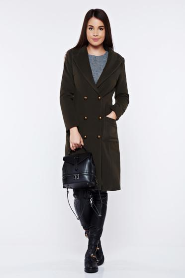 LaDonna darkgreen casual coat from wool with pockets with inside lining