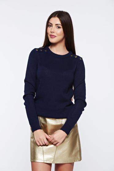 Top Secret darkblue sweater casual knitted metallic details