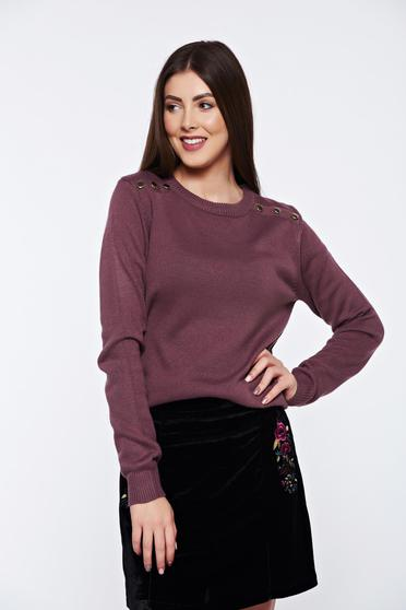 Top Secret purple sweater casual knitted metallic details