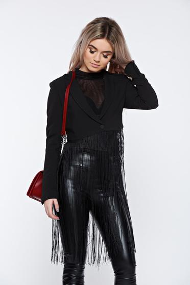 Top Secret black jacket clubbing short with fringes