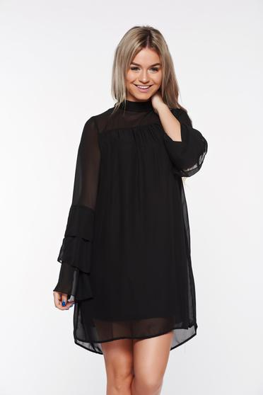 Top Secret black dress with inside lining from veil fabric flared