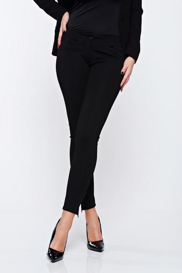 Artista black office conical trousers with zipper accessory