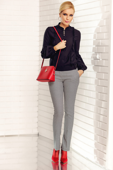 Fofy black office trousers with medium waist with print details