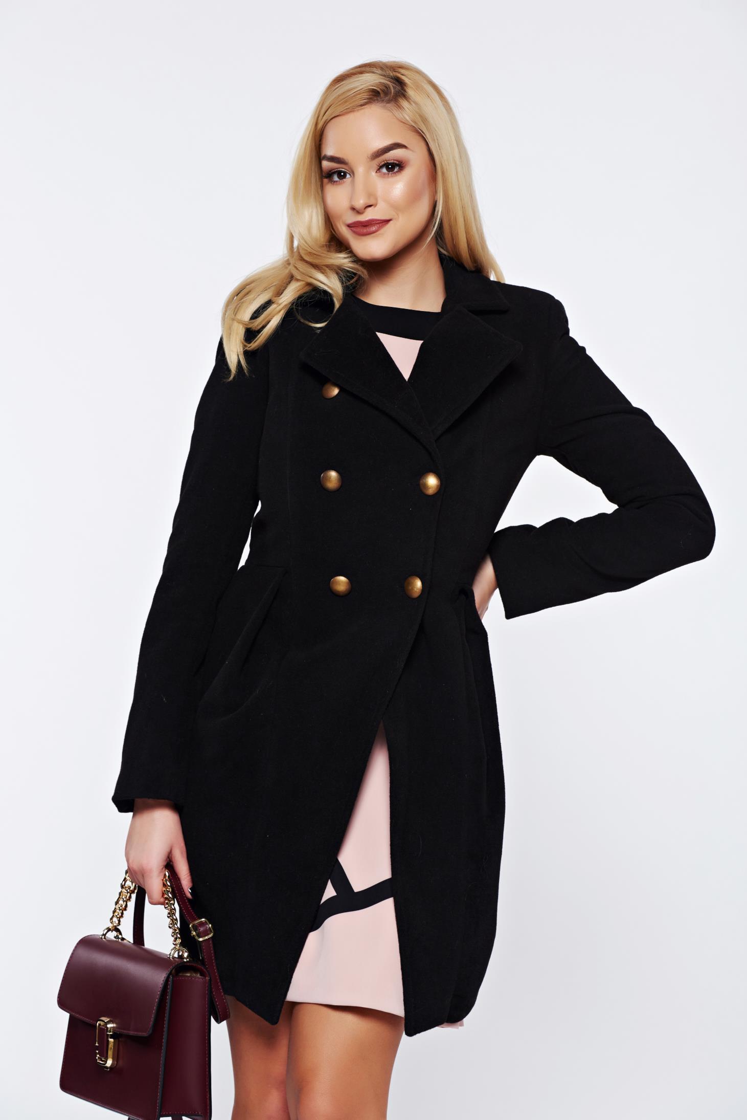 Palton PrettyGirl negru elegant captusit pe interior cu guler ascutit