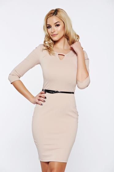 PrettyGirl cream office pencil dress accessorized with belt