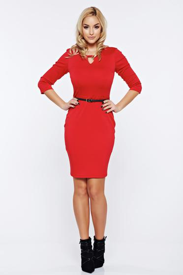 PrettyGirl red office pencil dress accessorized with belt