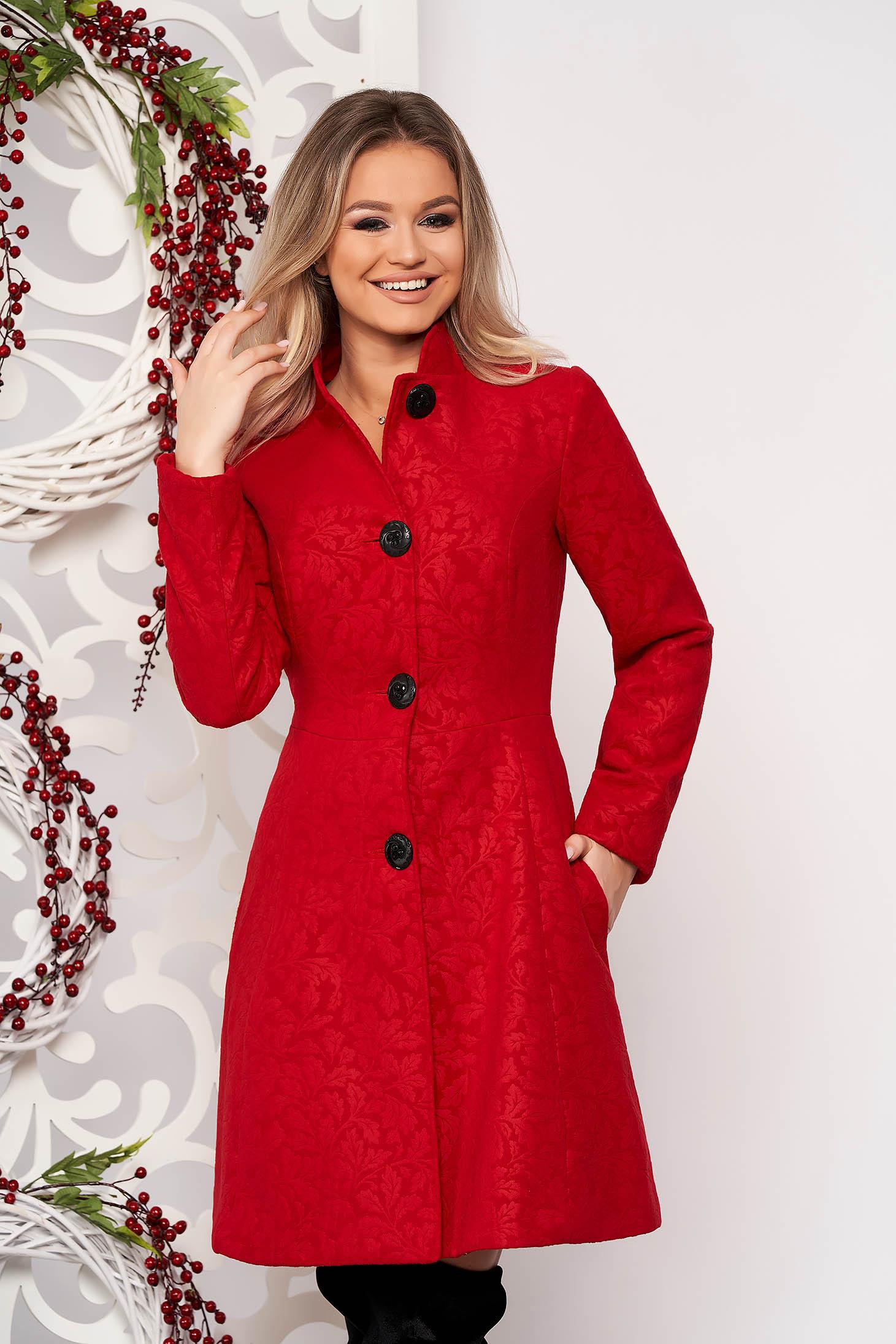 Palton Artista rosu elegant in clos din stofa neelastica captusit pe interior