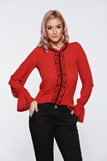 Bricky LaDonna office elegant voile fabric women`s blouse with ruffles on the chest