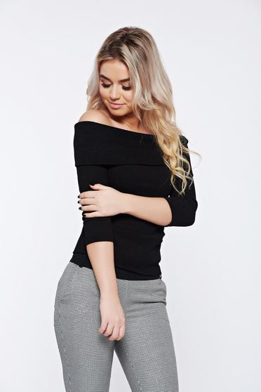 Sweater StarShinerS timeless romance black casual knitted tented on the shoulders