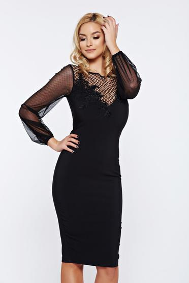 LaDonna black occasional embroidered dress with veil sleeves