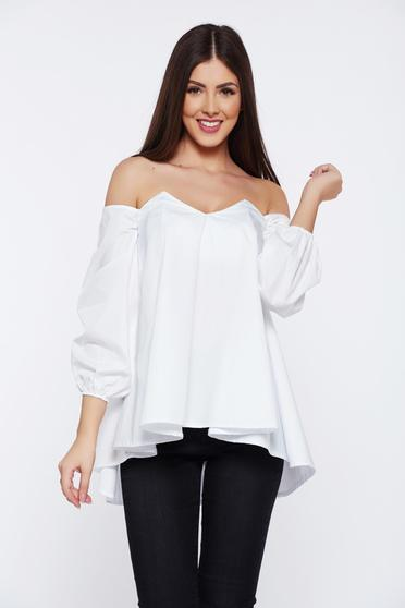 Ocassion white women`s blouse with easy cut on the shoulders