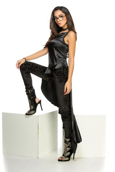 Ocassion black women`s blouse with ruffle details asymmetrical from satin fabric texture