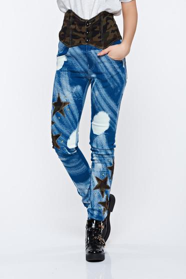 Ocassion blue jeans casual with pockets high waisted
