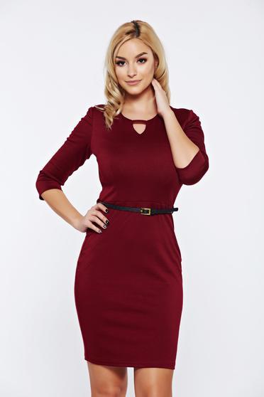 PrettyGirl burgundy office pencil dress accessorized with belt