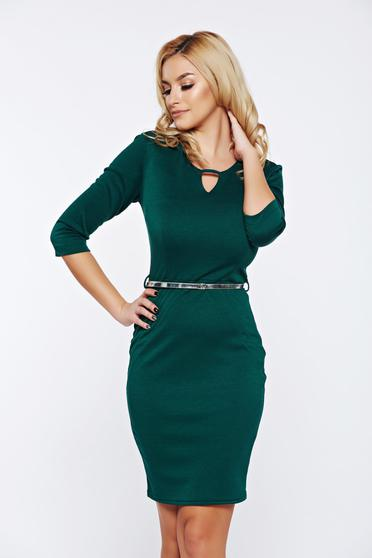 PrettyGirl green office pencil dress accessorized with belt