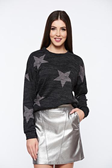PrettyGirl casual knitted darkgrey sweater with print details with easy cut