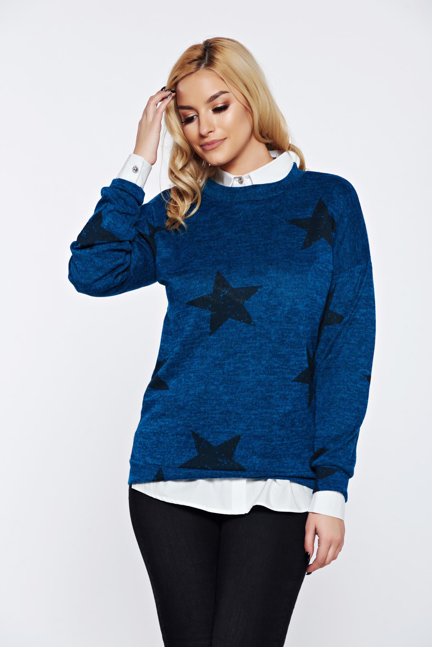 Pulover PrettyGirl turcoaz cu print casual tricotat cu croi larg