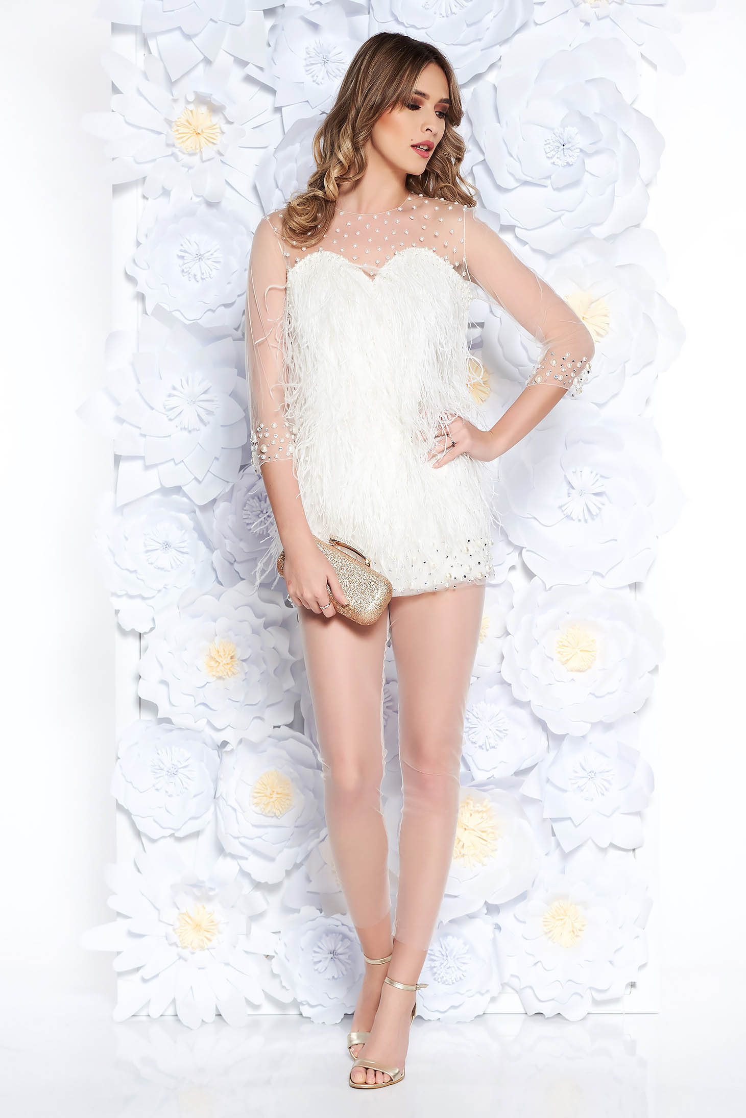 22f2bf8413db Fehér Ana Radu alkalmi női szett gyöngyös díszítés gyöngy díszítéssel