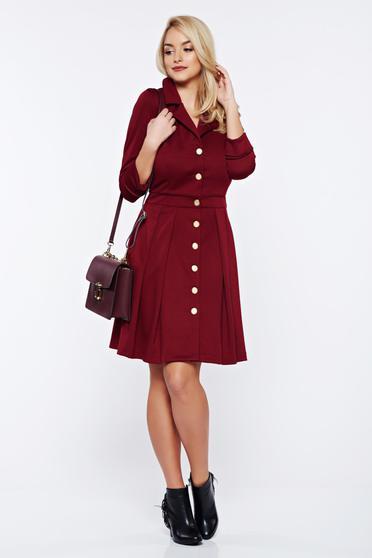 PrettyGirl burgundy office dress with v-neckline with pockets