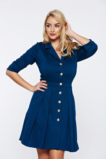 PrettyGirl turquoise office dress with v-neckline with pockets