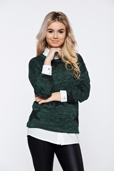 PrettyGirl casual knitted darkgreen sweater with print details with easy cut
