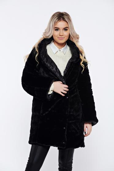 Casual black double-faced jacket from slicker with faux fur lining