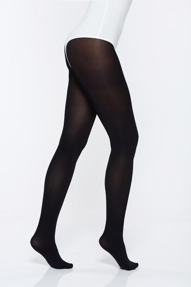 Black elastic cotton 150 den women`s tights with tented cut