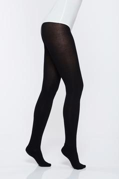 Black elastic cotton 220 den women`s tights with 3d effect