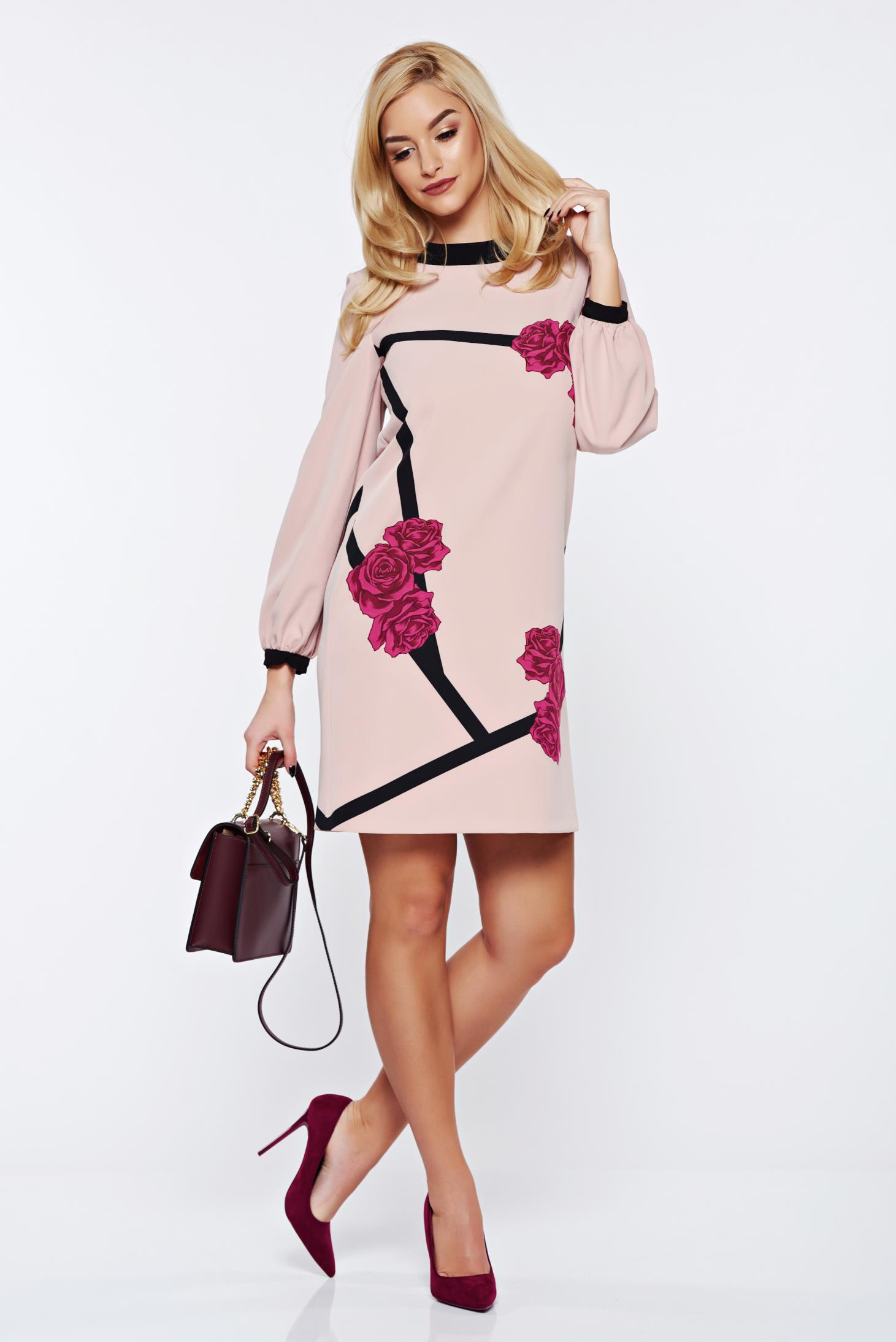 Rochie StarShinerS timeless romance rosa cu imprimeu floral eleganta cu croi larg