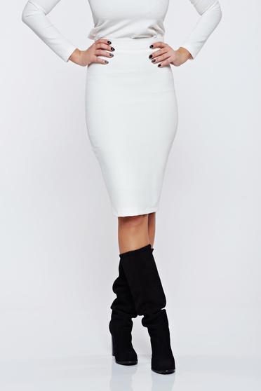 PrettyGirl white office midi pencil skirt from striped fabric