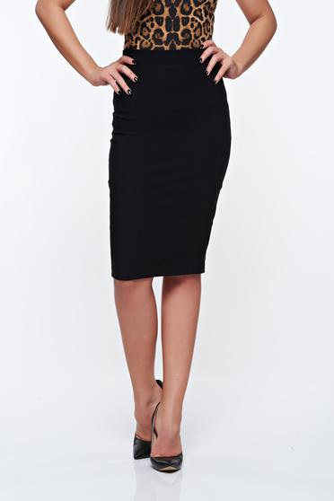 PrettyGirl black office midi pencil skirt from striped fabric