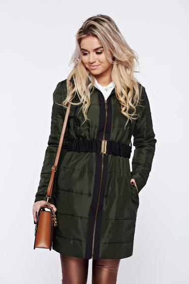 PrettyGirl darkgreen casual from slicker jacket accessorized with tied waistband
