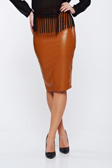 Skirt StarShinerS orange casual with medium waist pencil from ecological leather