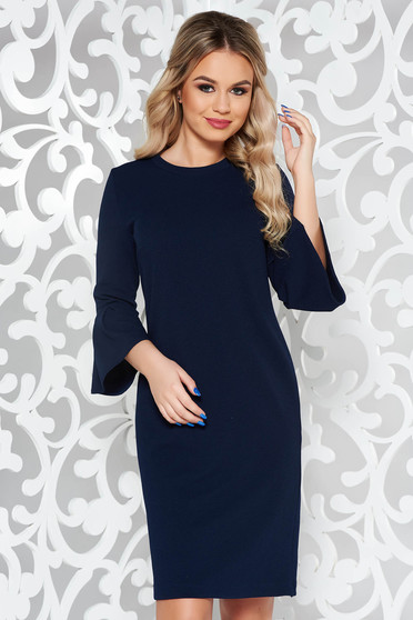 StarShinerS darkblue office with easy cut dress with bell sleeve